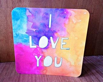Greeting card 'I love you' original design handmade 15cm x 15cm