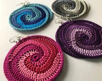 Crochet Earrings - Spiral Hoop Earrings - Black Girl Magic - Natural Hair - Afrocentric Jewelry - Summertime Accessories - 3in Diameter