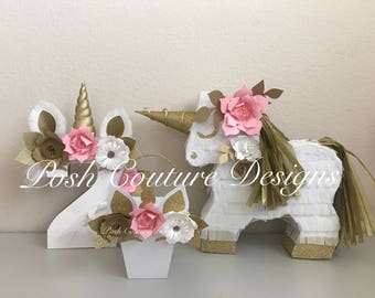 Unicorn Piñata Gift Set/ Unicorn Centerpiece/ Unicorn First Birthday/ Unicorn Photo Prop/ Unicorn Bridal Shower/ Unicorn Baby Shower