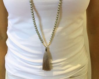Long ChromeTassel Necklace . Silver grey tassel necklace. Silver beads with a Grey tassel. Grey tassel necklace.