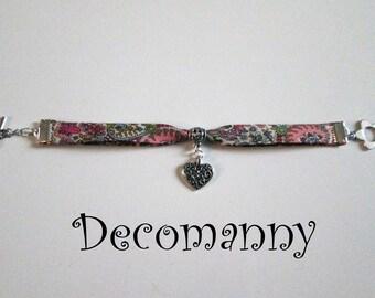 Bracelet Liberty rose breloque coeur