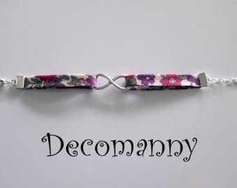Bracelet infini liberty japonais fleurs roses et mauves