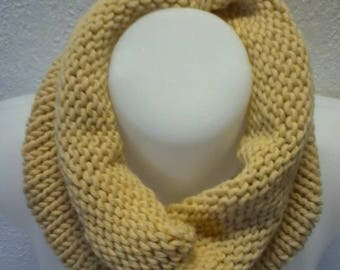 snood is lightweight and airy yellow color