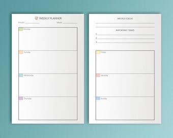 Mini Happy Planner Weekly Inserts Week Planner Mini Happy Planner Refills Week on Two Pages Printable Inserts Mini Happy Weekly Pages PDF
