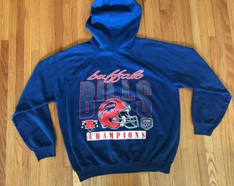 Vintage 80s Buffalo Bills Rare 1989 Super Bowl XXV Navy Hoodie. Size Large