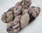 Hand Dyed 80/20 Merino Sock Yarn, Smokey Lilac, Indie Dyed Fingering Yarn for Knitting