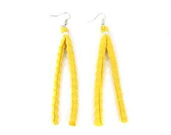 Earrings of recycled rag rugs, yellow