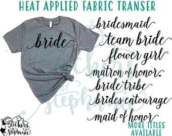 IRON ON v97-I Isabella Lowercase Wedding Bridal Party Heart Heat Applied T-Shirt Fabric Transfer Decal