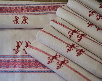 Antique french linen  tablecloth and 6 towels, 1870, Jacquard linen and FP monograms