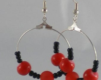 Boucles008 - Black and Red rings earrings