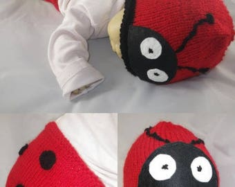 Photo004 - Onesie set / Ladybug - baby photo prop Hat