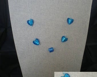 Parure008 - Set with blue hearts (necklace + earrings)