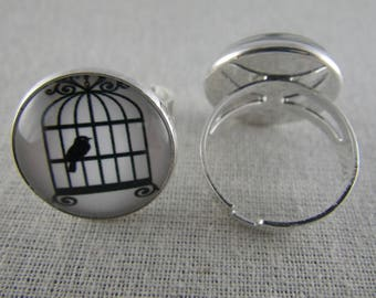 Bague065 - Ring silver, black and white bird cage