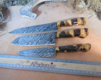 Custom Damascus Chef Knife Set With Buckeye Burl wood Handles