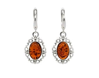 Filigree Dangle Earrings - Oval Dangle Earrings - Amber Dangle Earrings - Silver Filigree Earrings - Cognac Amber Earrings -206EAS1