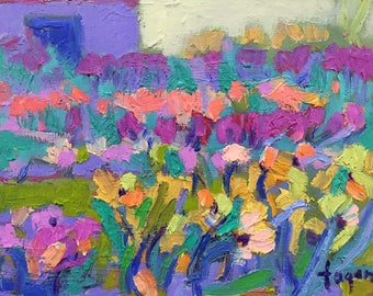 """Little Bloomers, Original Oil Painting Garden Party, Small Abstract Floral 8""""x10"""""""