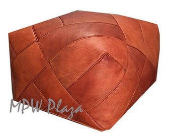 """NEW COLLECTION-  ZIGZAG Moroccan Leather Pouf 18""""Hx23""""D Custom"""