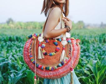 Vintage Half Moon Beach Bag for Women with Hmong Embroidered, One of a Kind Pom Pom Hmong Bag, Boho Tote Bag, Bohemian Bag - BG0002-0001