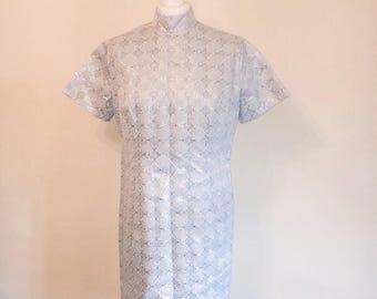 Vintage 1960s silver mini dress // mod dress // Chinese collar dress