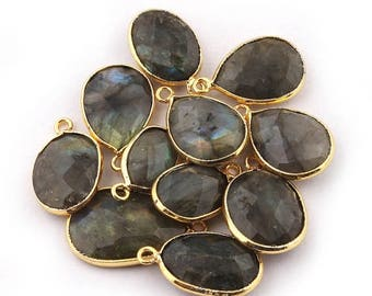 Valentine Day 11 PCS Labradorite Faceted 24k Gold Plated Single Bail Pendant - Oval Shape Pendant 19mmx12mm-25mmx15mm BC197