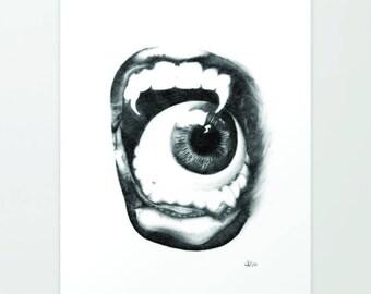 Feast, Art Print, Graphite, Pencil, Drawing, Black and White, Minimalist, Abstract, Decor, Art, Print