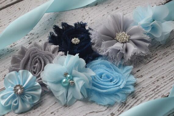 Flower Sash, light blue  grey dark navy Sash #2,, flower Belt, maternity sash
