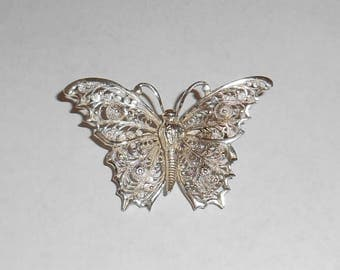 835 Silver Filigree Butterfly Pin Brooch