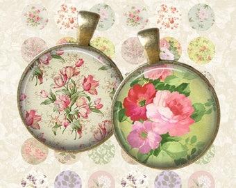 SALE 50% Vintage Floral No1 Circle - Digital Collage Sheet 1 inch Printable Circles Download for pendants magnets bottle caps