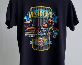 Vintage Harley Davidson 80s Biker Motorcycle Small Medium Black 50 50 Soft t shirt Orlando Florida