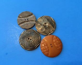 Vintage Plastic Buttons- 4 Large Sew Through