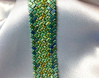 Cypress-Herringbone Woven Beaded Bracelet