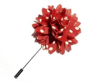 Wedding Boutonniere Red White Polka Dot Lapel Flower Mens Lapel Pin. Mens Boutonniere Wedding Lapel Pin Flower Lapel Pin Groomsman Lapel Pin