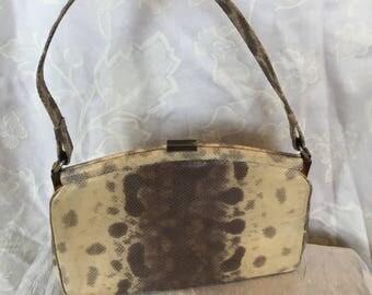 1950s cream and grey snakeskin handbag