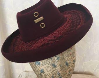 40s original burgundy felt tilt hat
