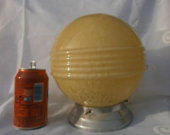 LARGE Yellow Art Deco Globe light shade, French, original, replacement, glass, aluminium gallery