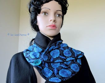 snood scarf buttoned a pole face a face cotton Indian print shades of blue