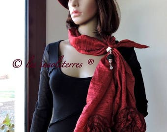 scarf tie jewel Andalusian intense red ruffled frilly polyester satin