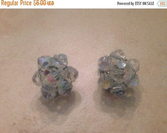 SALE Vintage Crystal Earrings Aurora Borealis Cluster Costume Jewelry