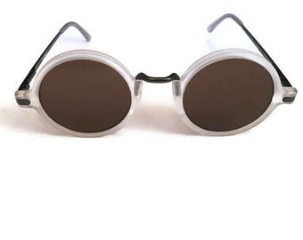 Vintage AJ Morgan Sunglasses Round White 1990s Statement Hipster Boho Hippie