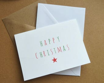 Pack of 10 Christmas cards white or recycled kraft envelope C6 A6