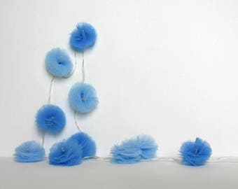 10 Led - Light string with tassels in blue and light blue tulle