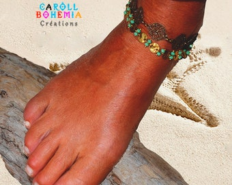 Ibiza, Boho, beach anklet, green beads, gold