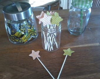 Set of 10 picks decorative stars pattern for sweet table