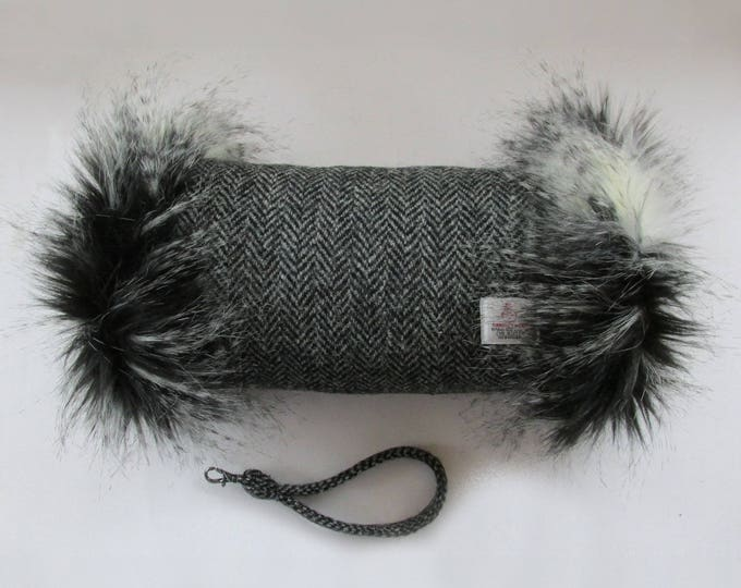 Harris Tweed Black & Grey Herringbone and Muff with Black, Grey and White Faux Fur Trim