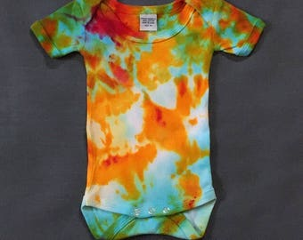 Shibori/ Tie-Dye onsie---yellow,turquoise,pink -- Size 3 month