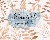Copper Plants, Copper Botanical Clipart, Hand Painted Copper Plants, Branches, Leaves, Flowers, 30 PNG Floral Elements, BUY5FOR8