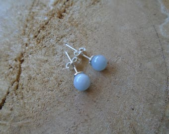 Aquamarine on Sterling Silver 925 earrings / / chips