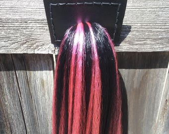 """25"""" Horse Tail for cosplay, costume, or ponyplay. Black with hot pink highlights. Ready to ship."""