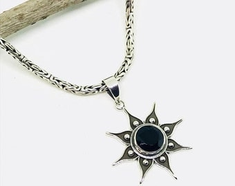 10% Black spinel Pendant/ necklaces set in Sterling silver 925. Natural authentic faceted black spinel. Length - 1.5 inch long