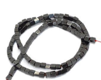 Set of 10 beads Hematite cubes, square 3X4mm